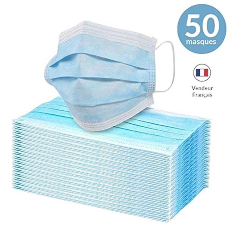 Masque chirurgical jetable X 50 - ledpourlespros.fr